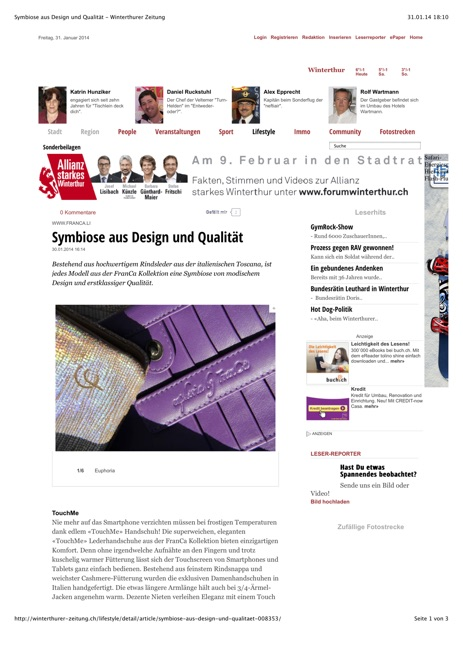 Winterthurer Zeitung Euphoria by FranCa January 14